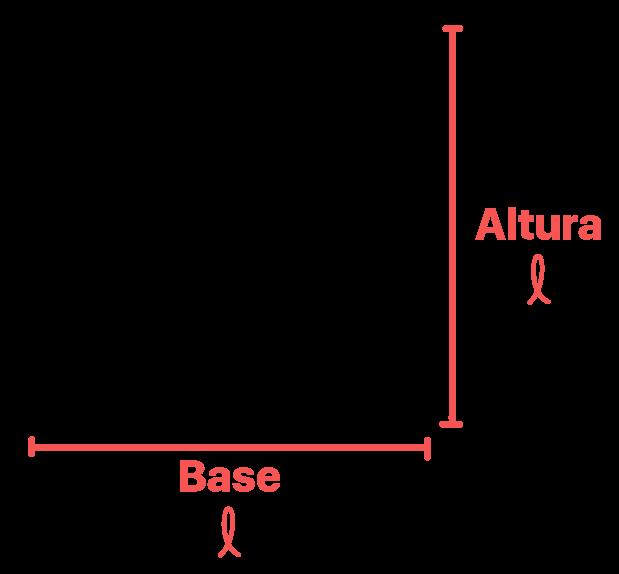 quadrado onde as medidas da base e da altura estão em destaque