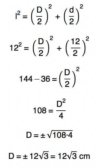 diagonal maior do losango é encontrada através do teorema de pitágoras