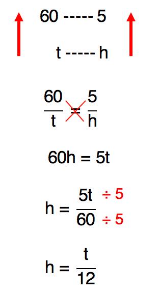 montagem da proporção dada realização da multiplicação cruzada cujo resultado é t/12