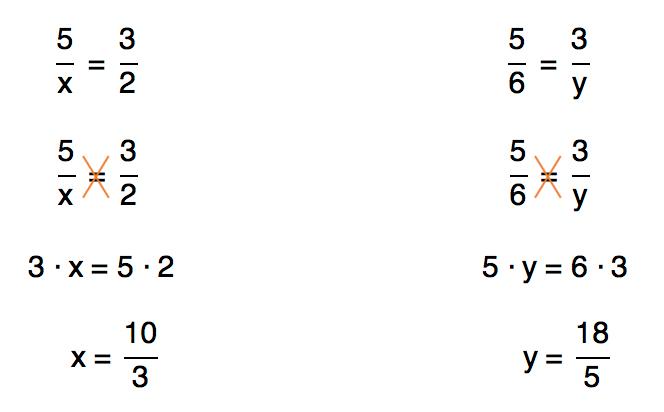 resolução das proporções 5/x=3/2 e 5/6=3/y que resultam em 10/3 e 18/5