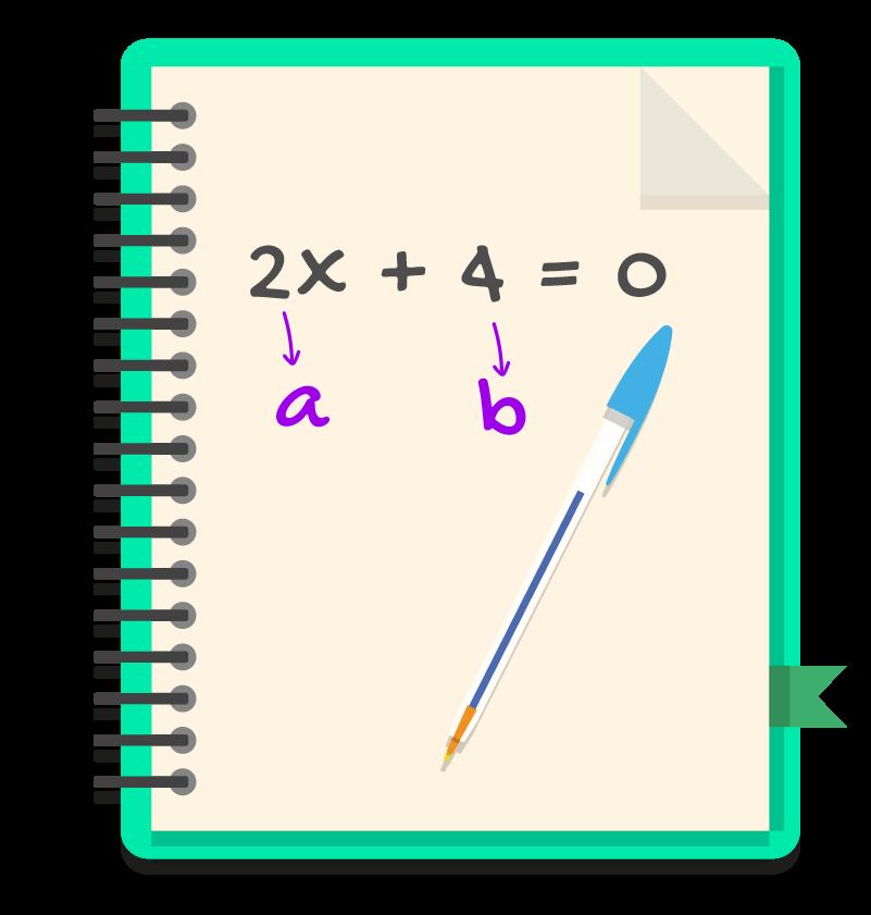 caderno com a equação 2x+4=0 onde a=2 e b=4