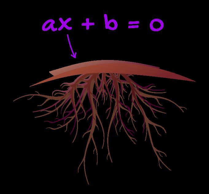 ax+b=0 onde x é a raiz da equação do primeiro grau aí é feita uma associação com a raiz de uma planta
