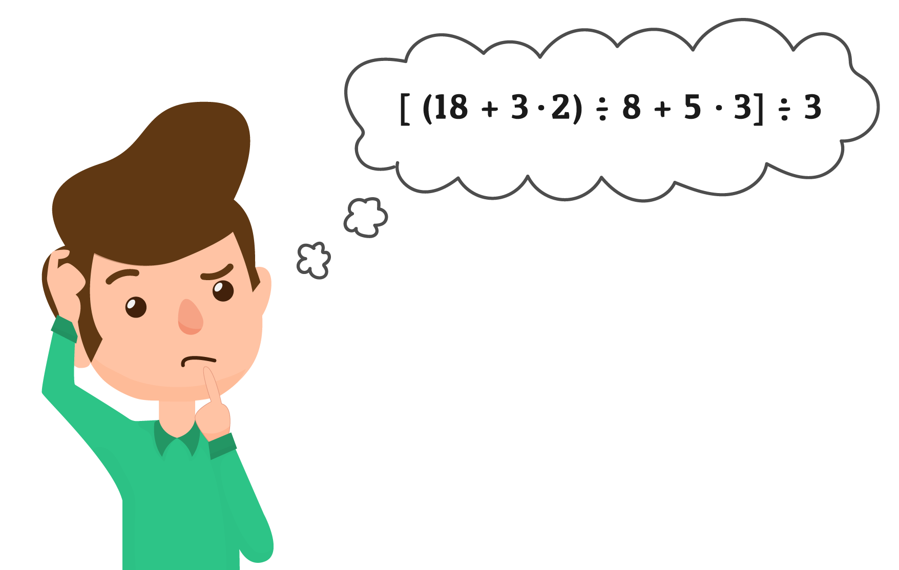 Aluno está pensando como irá resolver uma expressão numérica
