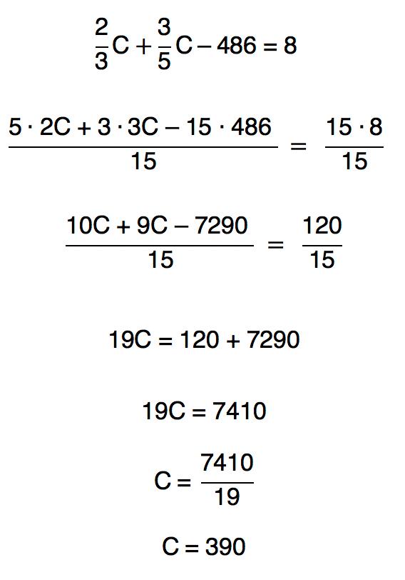 realizando o mmc entre os denominadores resolve-se a equação e o resultado obtido é 390