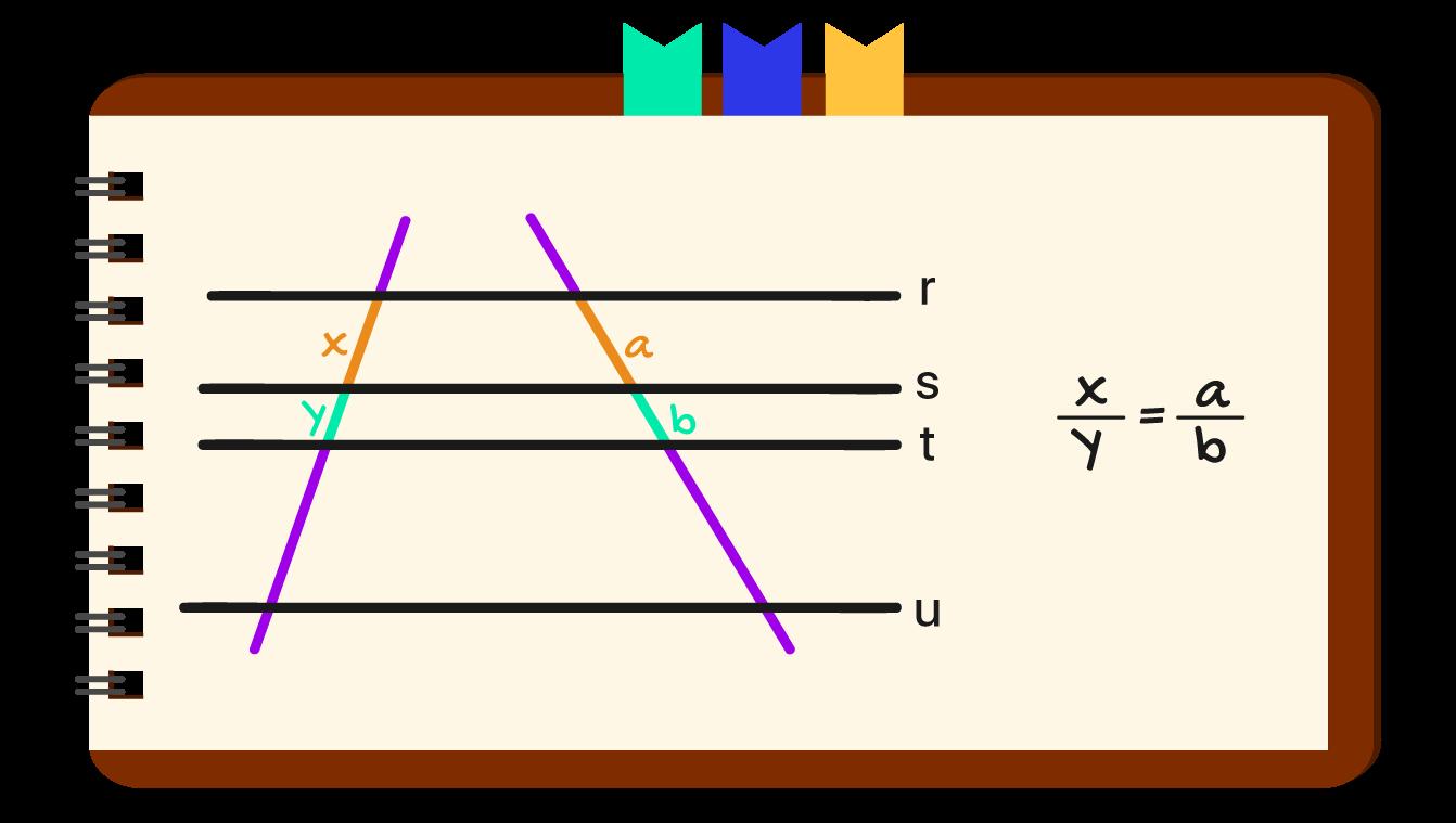 caderno onde a definição do teorema de tales é apresentada matematicamente