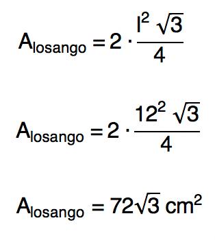 área do losango com base na área de dois triângulos equiláteros