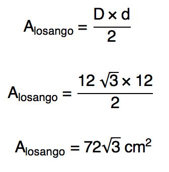 área do losango com base na própria fórmula da área do losango