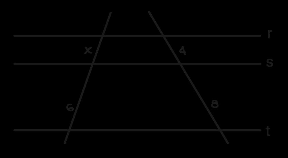 retas transversais ao feixe de retas paralelas exercicio 1