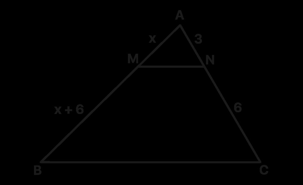 triângulo ABC com algumas medidas e um segmento paralelo a BC chamado MN