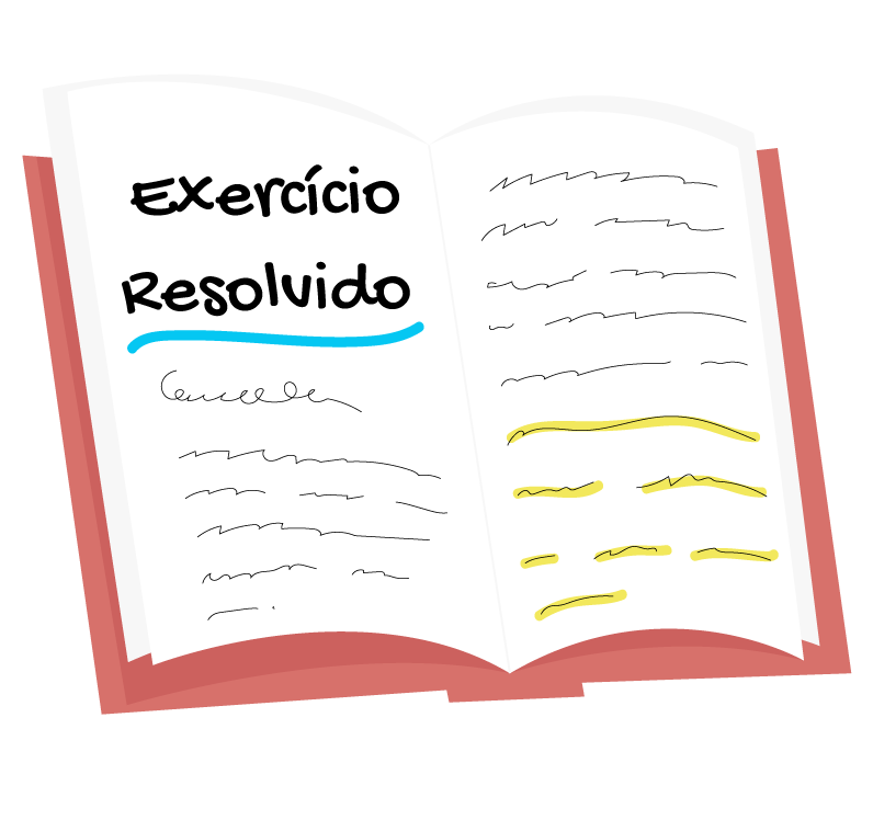 livro aberto escrito exercício resolvido