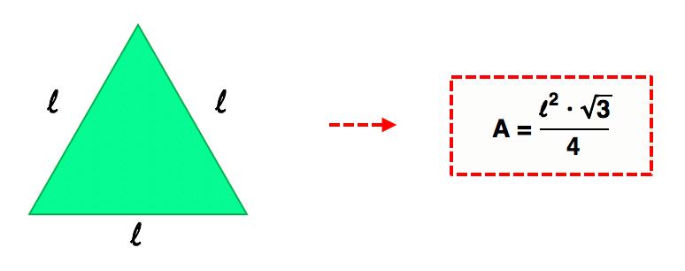 triângulo equilátero de lado l e sua fórmula da área