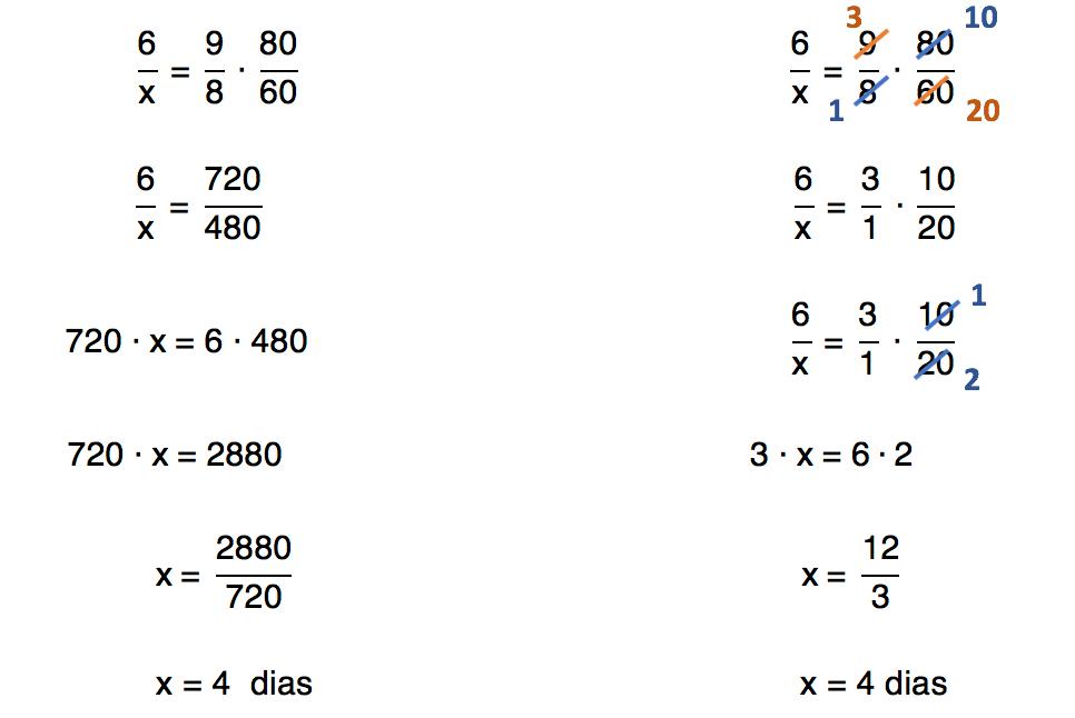 resolução da equação formada na regra de três composta de forma simplificada e natural