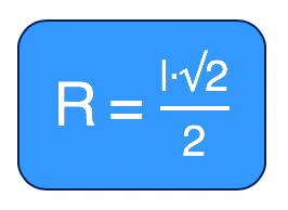 medida do raio da circunferência circunscrita no quadrado é o produto entre o lado l e raiz quadrada de 2 sobre 2