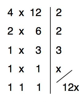 mínimo múltiplo comum entre 4 x e 12