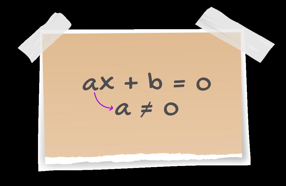 folha rasgada onde aparece ax+b=0 quando a é diferente de zero
