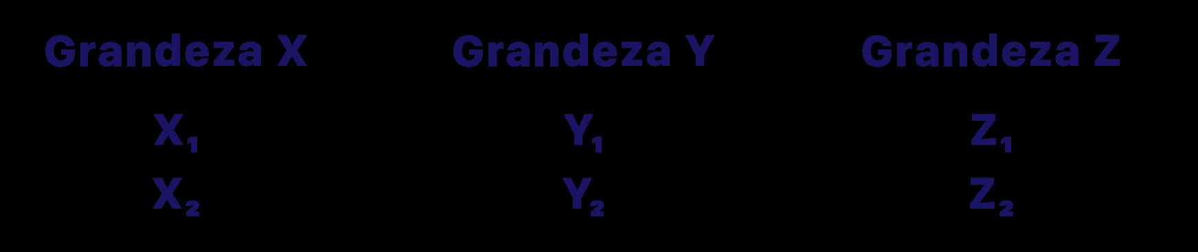 as grandezas exemplo x y e z são separadas em colunas