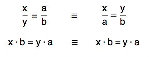 tanto x/y=a/b quanto x/a=y/b resultam em xb=ya