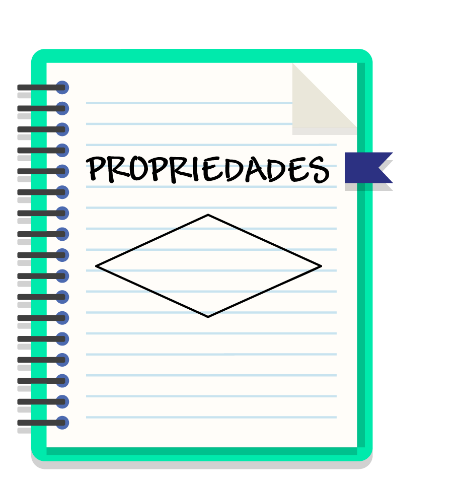 caderno onde está escrito propriedades e um losango está desenhado