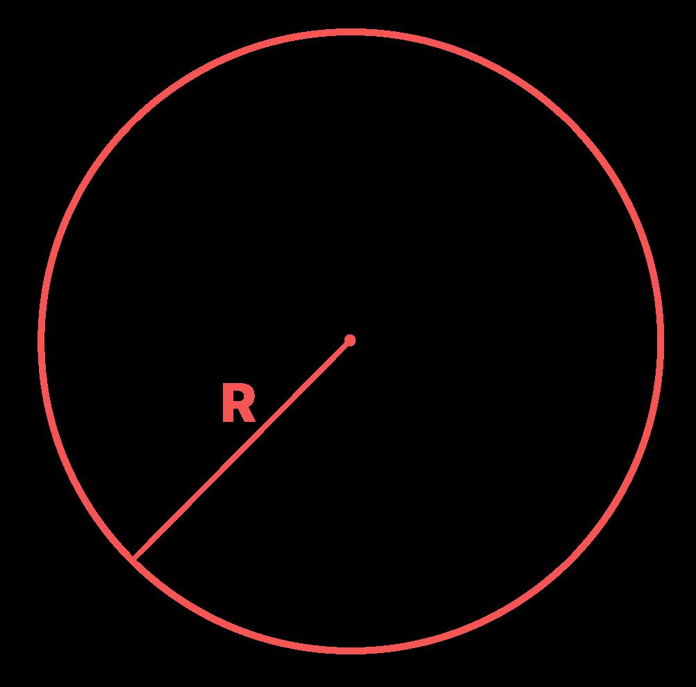 circunferência fora do quadrado onde aparece o comprimento do raio