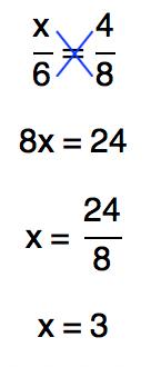 a solução da proporção x/6=4/8 é 3