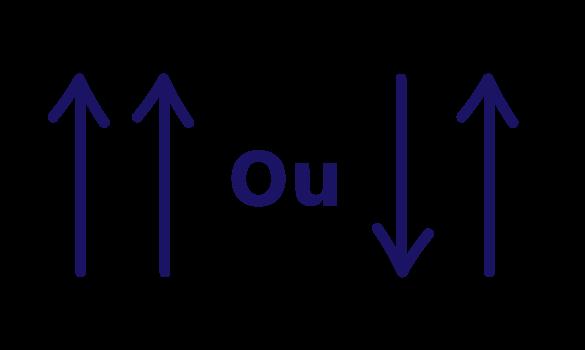 setas utilizadas na comparação da coluna onde está a incógnita com as colunas das demais grandezas