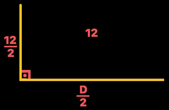 triângulo retângulo com suas respectivas medidas dos catetos e da hipotenusa que são as diagonais e o lado do losango