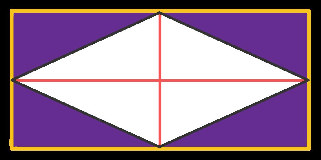 Destaque para os 4 triângulos retângulos formados externamente ao losango e internamente ao retângulo
