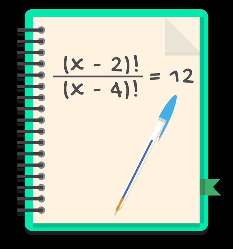 caderno onde o aluno irá resolver uma equação fatorial