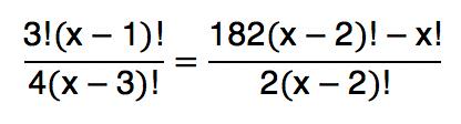 equação fatorial da questão de vestibular
