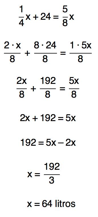 resolução da equação x/4+24=5x/8 resulta em 64