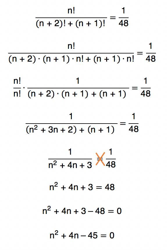 resolução de equação fatorial leva a uma equação do segundo grau