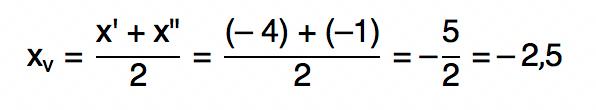 média aritmética entre -4 e -1 que resulta em -2,5