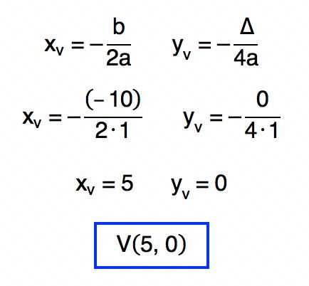 as coordenadas xv e yv da função f(x) = xˆ2 – 10x + 25 são 5 e 0