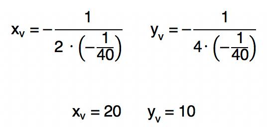 cálculo das coordenadas xv e yv da função f(x) = -1/40 xˆ2 + x resulta em 20 e 10