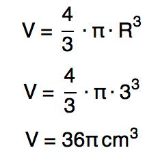 Substituindo o valor de R por 3 na fórmula V = (4πRˆ3)/3 tem-se V = 36π cmˆ3