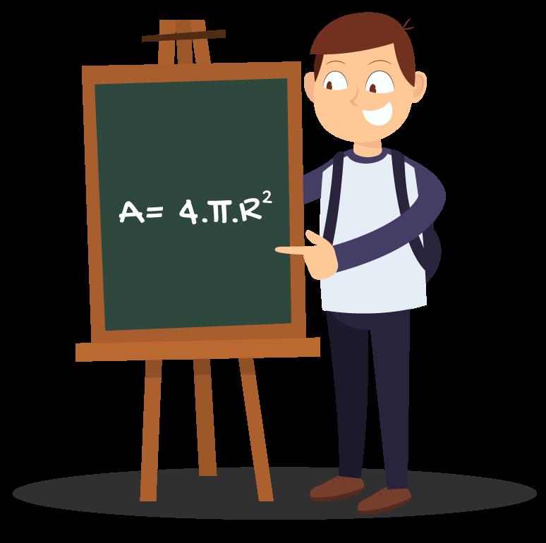 aluno mostra no quadro a fórmula A = 4πRˆ2