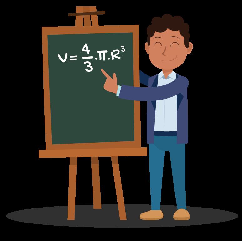 aluno mostra no quadro a fórmula V = (4πRˆ3)/3