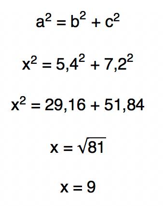 Teorema de Pitágoras aˆ2 = bˆ2 + cˆ2 é utilizado para encontrar o valor da incógnita x = 9
