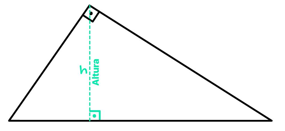 altura h em destaque no triângulo retângulo