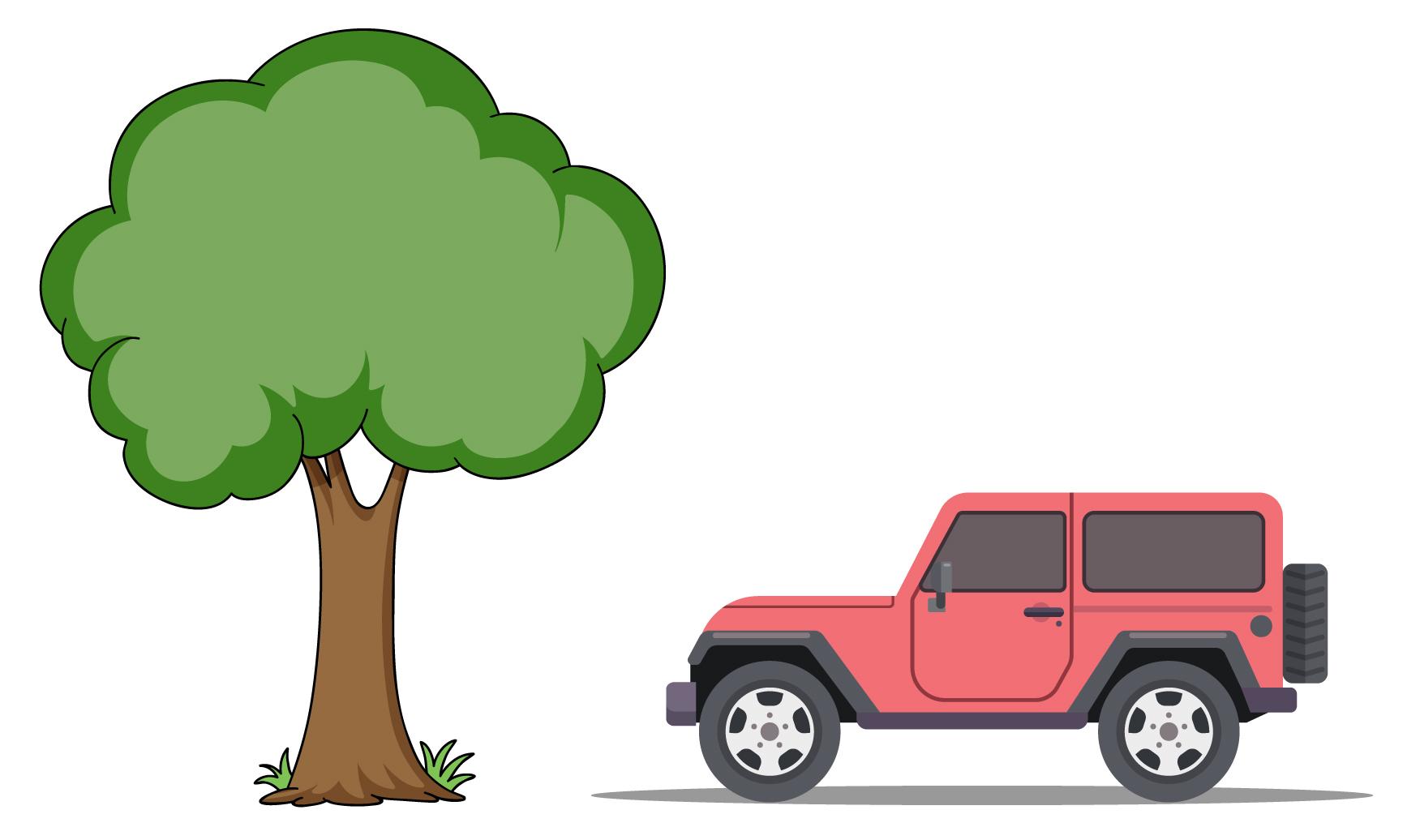 árvore ao lado do carro em desenho
