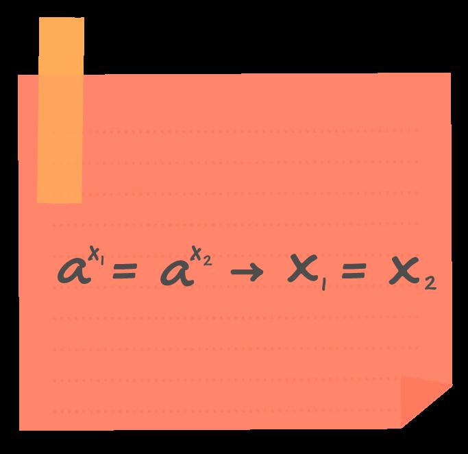 em uma equação exponencial se as bases a forem iguais, os expoentes x1 e x2 também são iguais