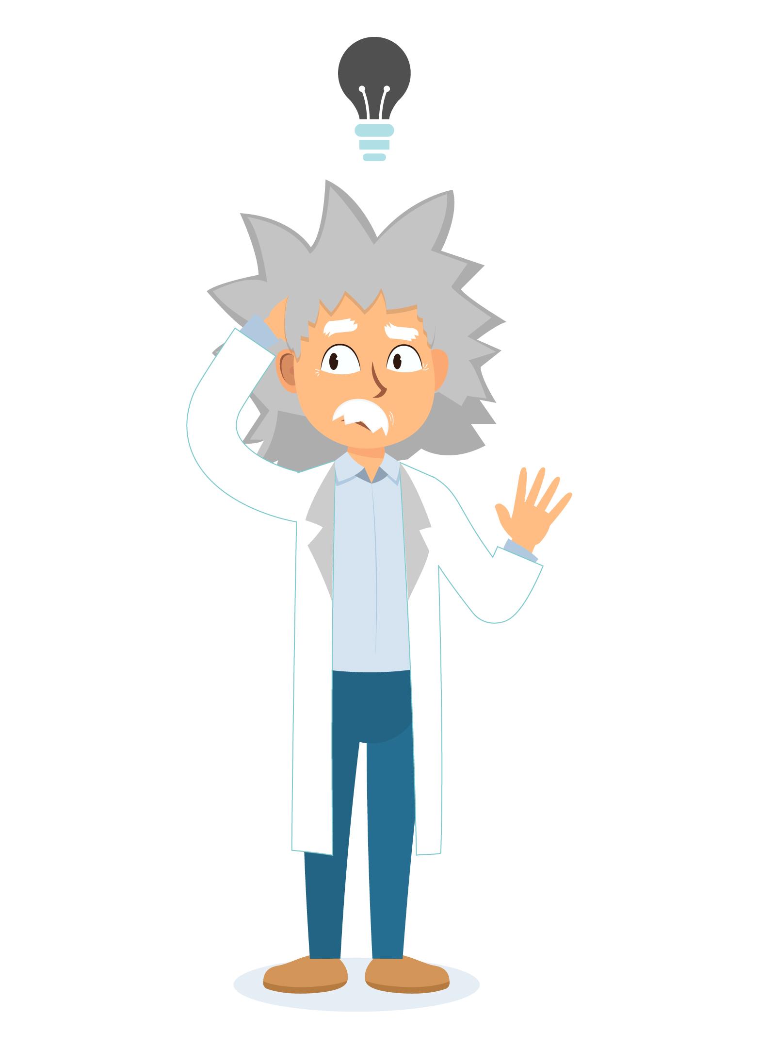 cientista com dúvidas pensando com lâmpada das ideias desligada