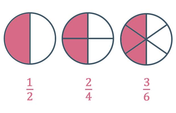 3 círculos onde o primeiro é dividido em 2 partes e 1 foi pintada o segundo é dividido em 4 partes e 2 foram pintadas e o terceiro é dividido em 6 partes e 3 foram pintadas