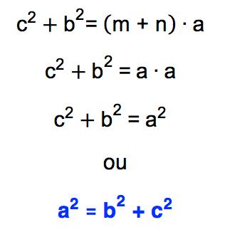 de cˆ2 + bˆ2 = a. (m + n) chega-se a aˆ2 = bˆ2 + cˆ2 que é a fórmula do Teorema de Pitágoras