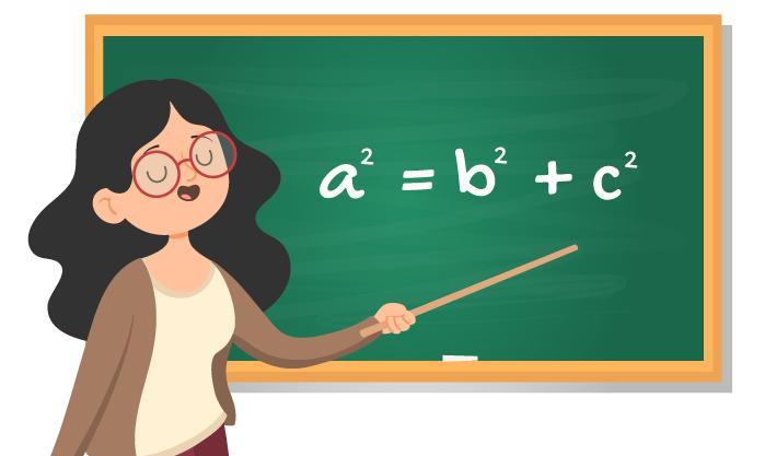 aluna mostra a fórmula do Teorema de Pitágoras