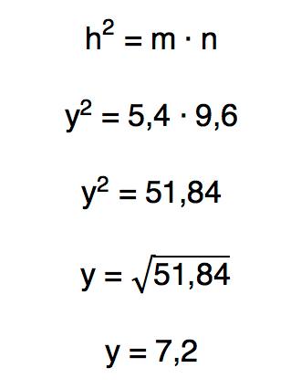 relação métrica hˆ2 = m.n permite encontrar o valor da incógnita y = 7,2