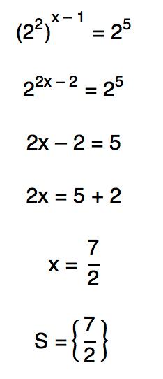 (2ˆ2)ˆ(x-1) = 2ˆ5 resulta em x=7/2