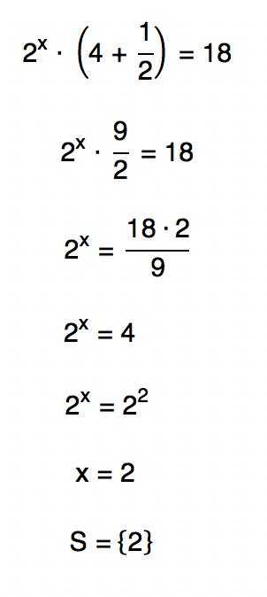 2ˆx . (4 + 1/2) = 18 resulta em x = 2
