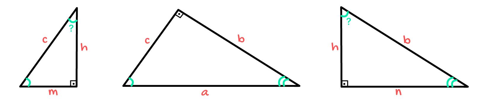 3 triângulos retângulos onde um ângulo é desconhecido