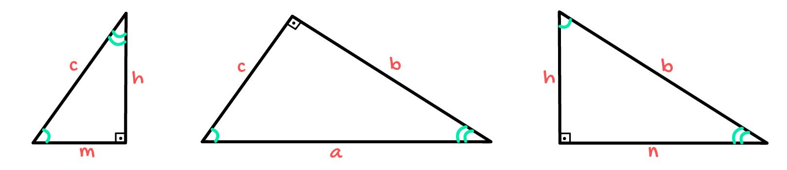 3 triângulos retângulos onde todos os ângulos são congruentes